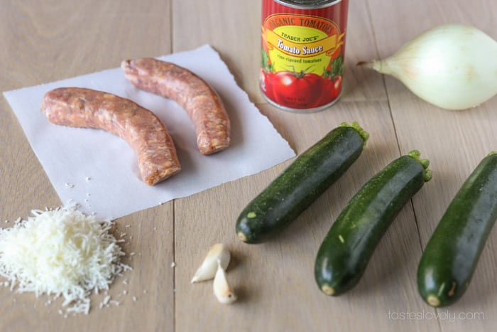 Sausage Stuffed Zucchini Ingredients
