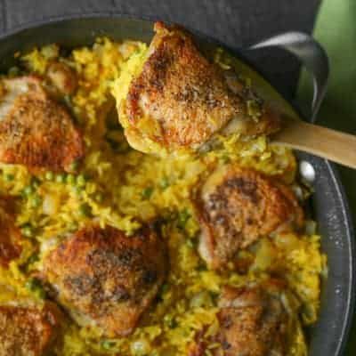 Crispy Chicken and Saffron Rice Skillet | tasteslovely.com