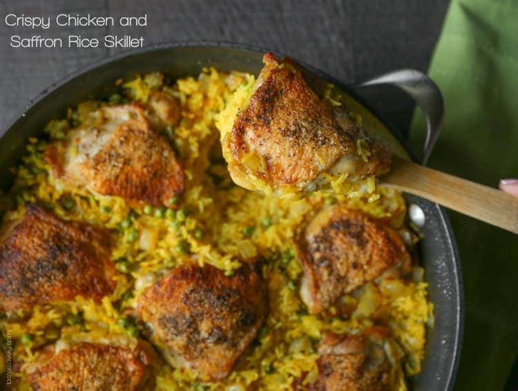 Crispy Chicken And Saffron Rice Skillet Tastes Lovely