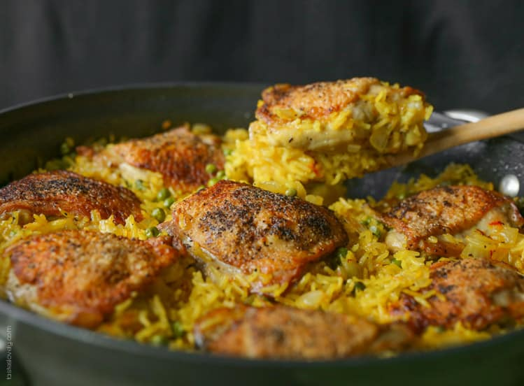 Crispy chicken and saffron rice skillet