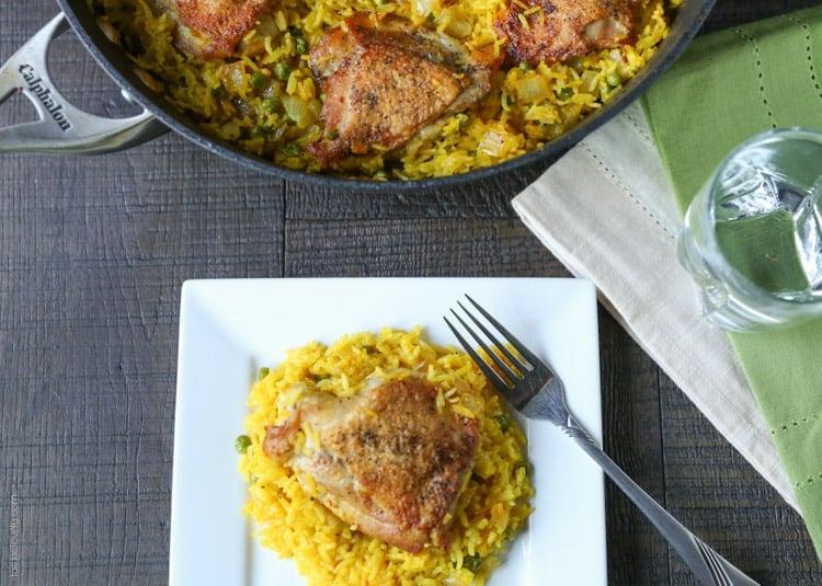 Crispy Chicken And Saffron Rice Skillet Tastes Lovely