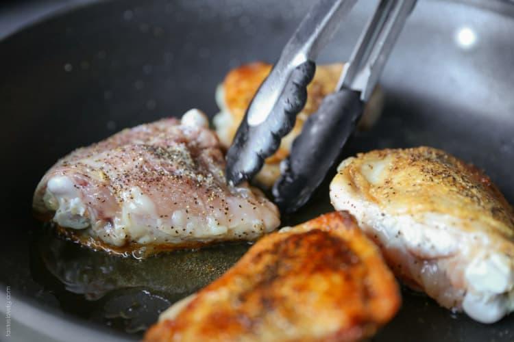 Crispy chicken and saffron rice skillet