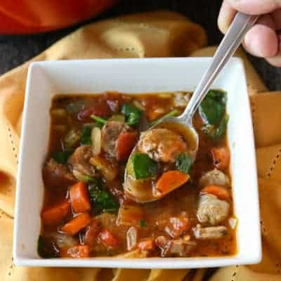 Italian Sausage and Vegetable Soup | tasteslovely.com