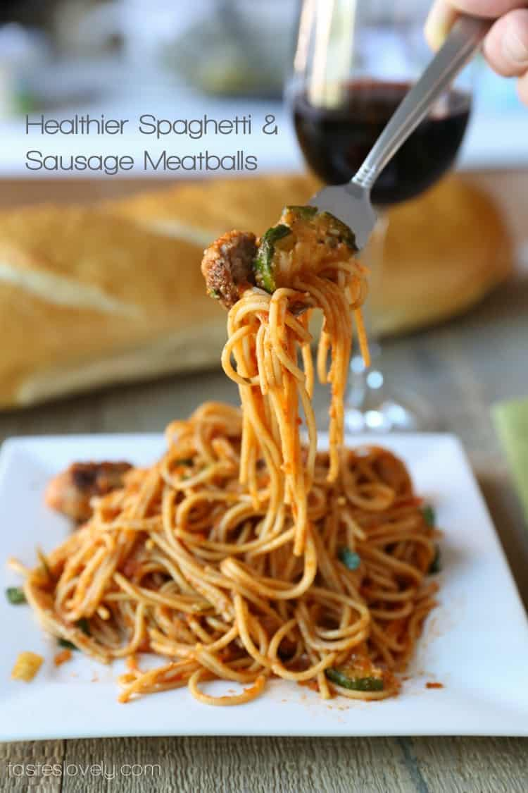 Healthier spaghetti & sausage meatballs, only 410 calories!