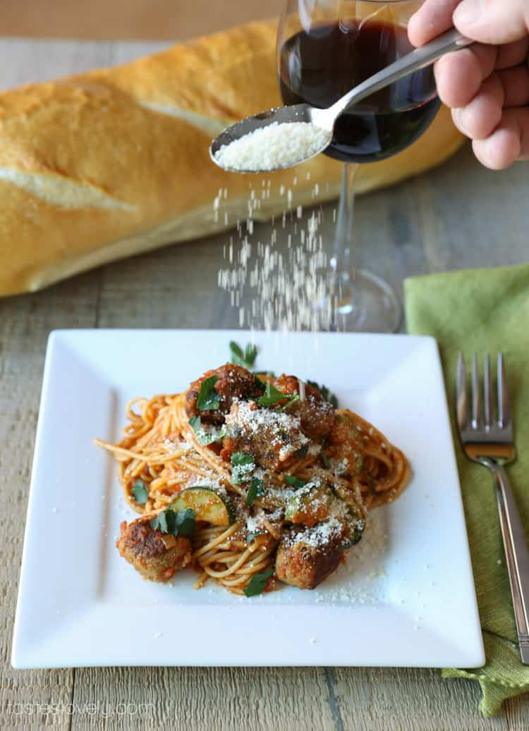 Lightened up spaghetti & sausage meatballs, only 410 calories!