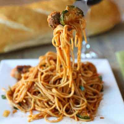 Healthier Spaghetti and Sausage Meatballs | tasteslovely.com
