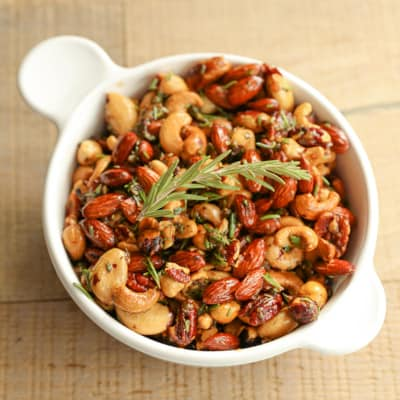 Sweet & Spicy Rosemary Roasted Nuts | tasteslovely.com