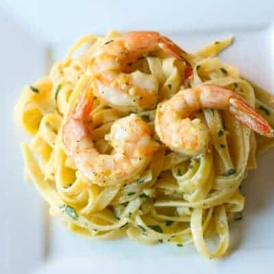 Lemon Shrimp Scampi Pasta | tasteslovely.com
