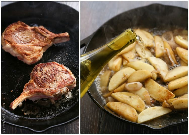 Pork Chops with Vanilla Apples and Shallots