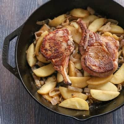 Pork Chops with Vanilla Apples and Shallots | tasteslovely.com