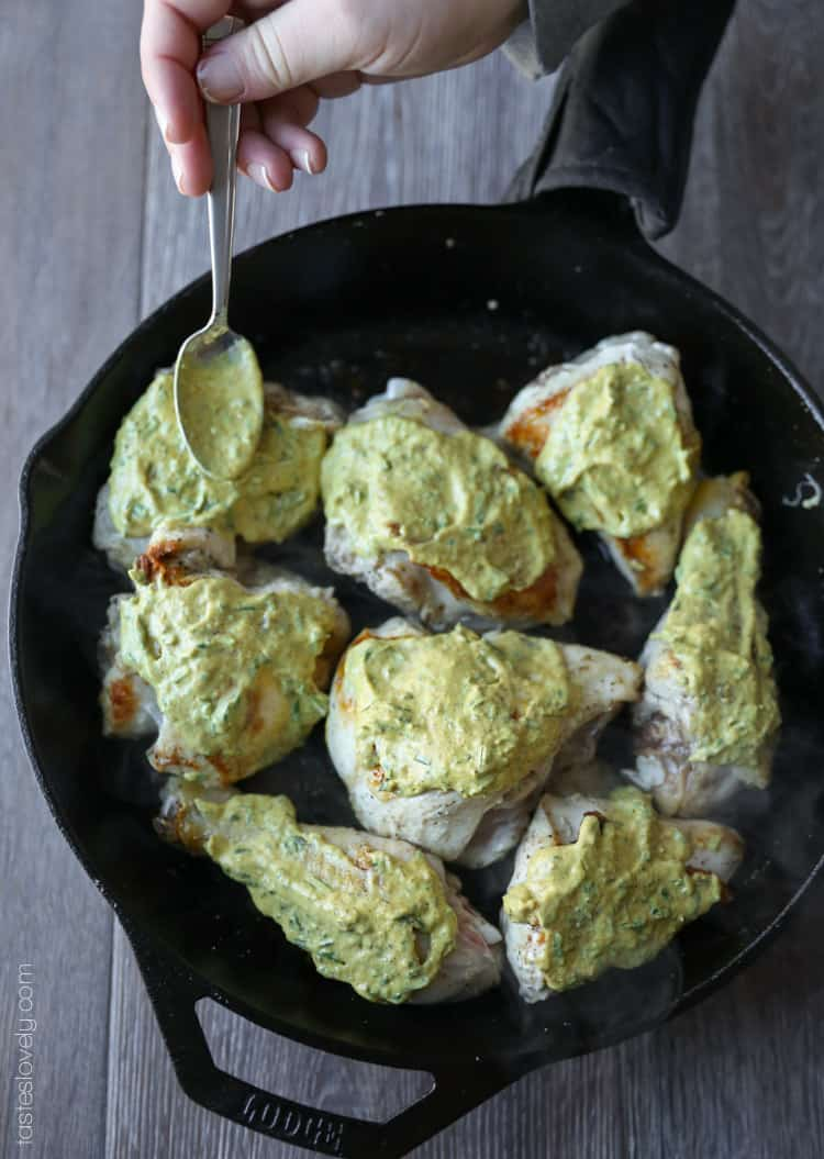 Rosemary Mustard Skillet Chicken, 30 minutes and only 370 calories!