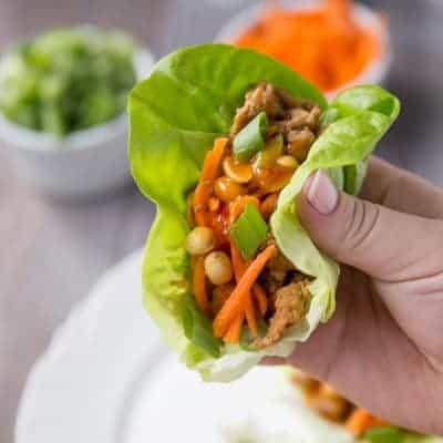 Healthy Asian Turkey Lettuce Wraps | tasteslovely.com