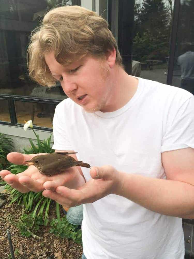 Shawn rescuing a bird-1