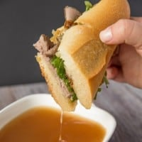 Beef Dip Sandwich with Gruyere & Grilled Onions