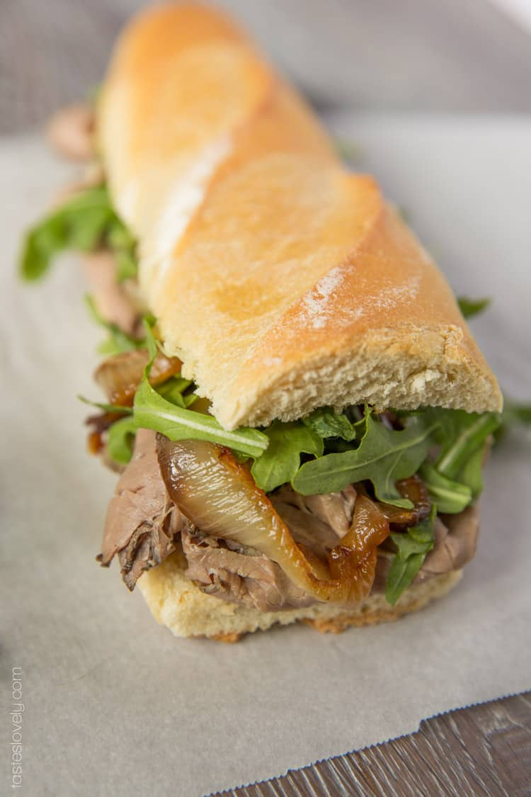 Beef Dip Sandwich with Gruyere & Grilled Onions — Tastes ...