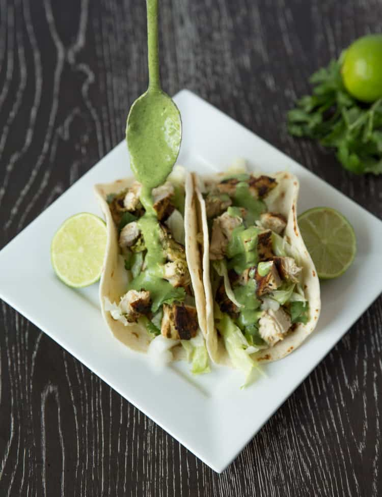 Chicken tacos with cilantro lime ranch dressing