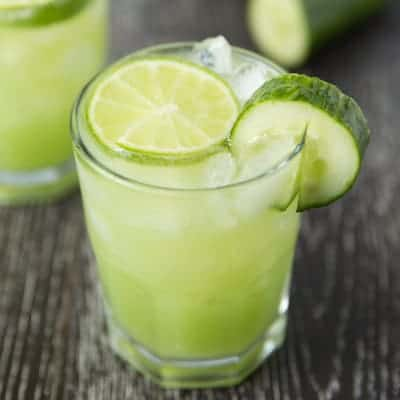 Cucumber lime margaritas | tasteslovely.com