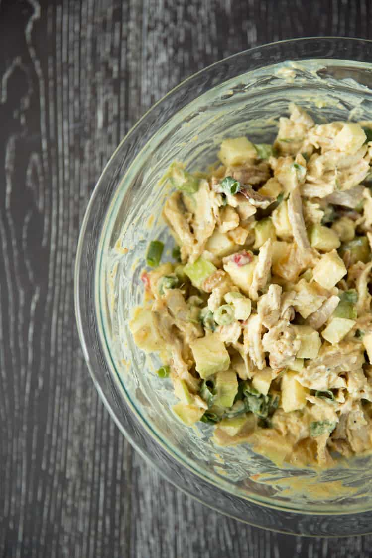 Curried chicken salad and apple wraps-2