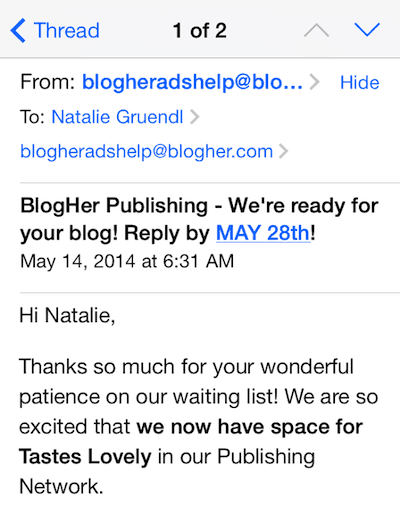 Accepted to BlogHer