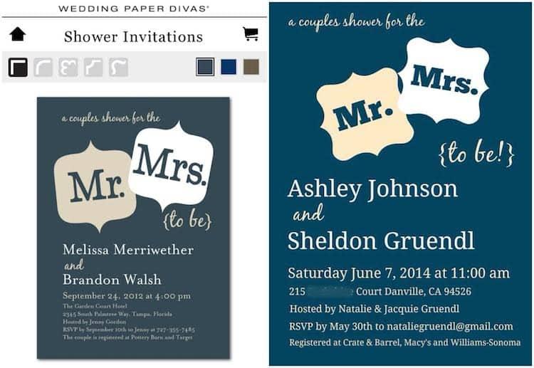 DIY Couples Shower Invitation