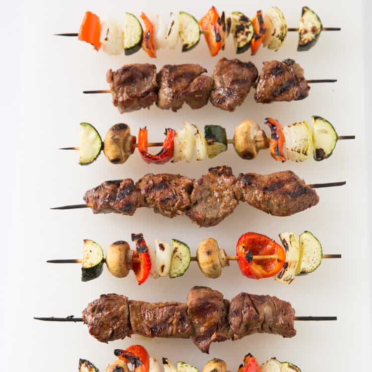 Grilled steak and vegetable kabobs (paleo, gluten free, low carb, low calorie)