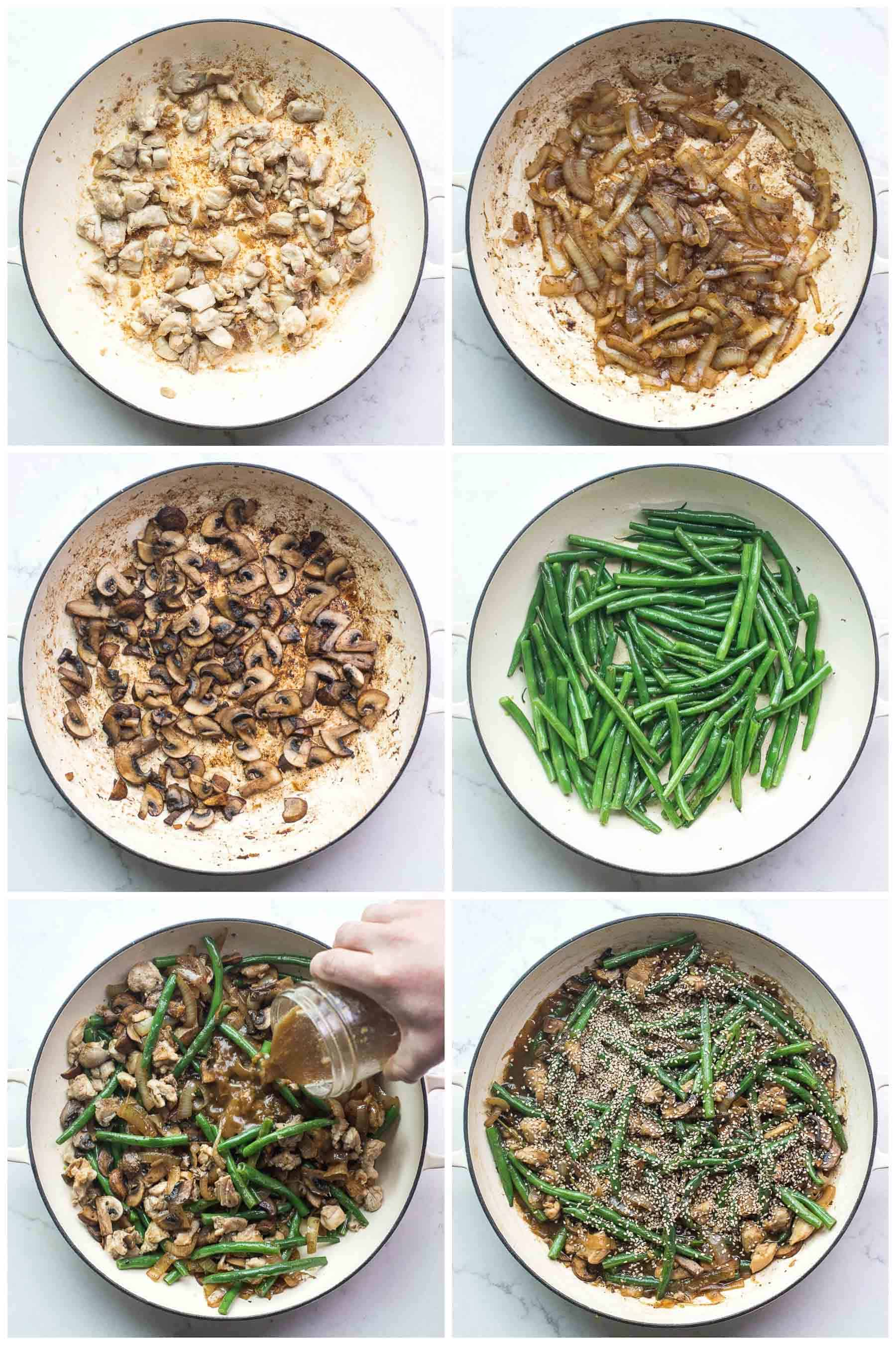 the steps of making sesame chicken green bean stir fry