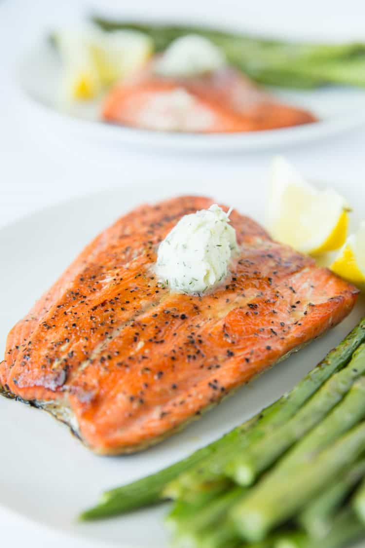 Pan Seared Salmon Topped With A Dill Garlic Compound Butter 15 Minute Recipe
