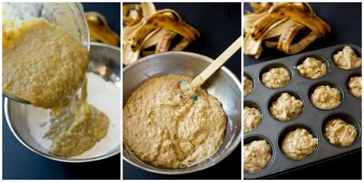 Perfect banana nut muffins. Made with 5 bananas, full of banana flavor!