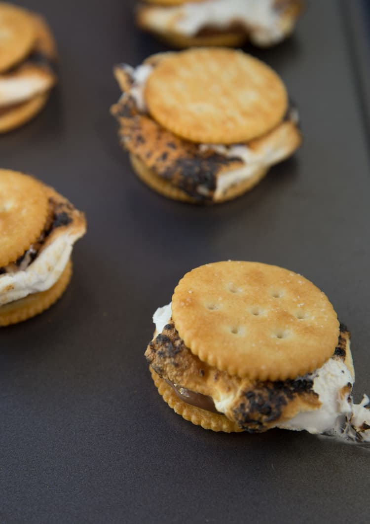 Reese's s'mores on ritz crackers, SO much better than regular s'mores!