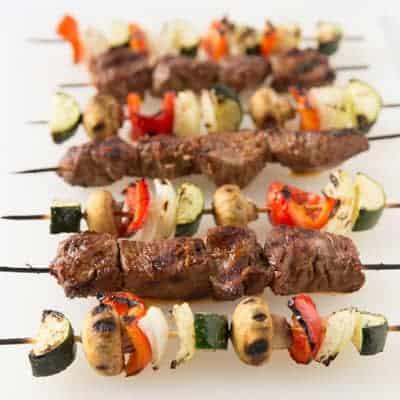 grilled steak and vegetable kabobs   tasteslovely.com