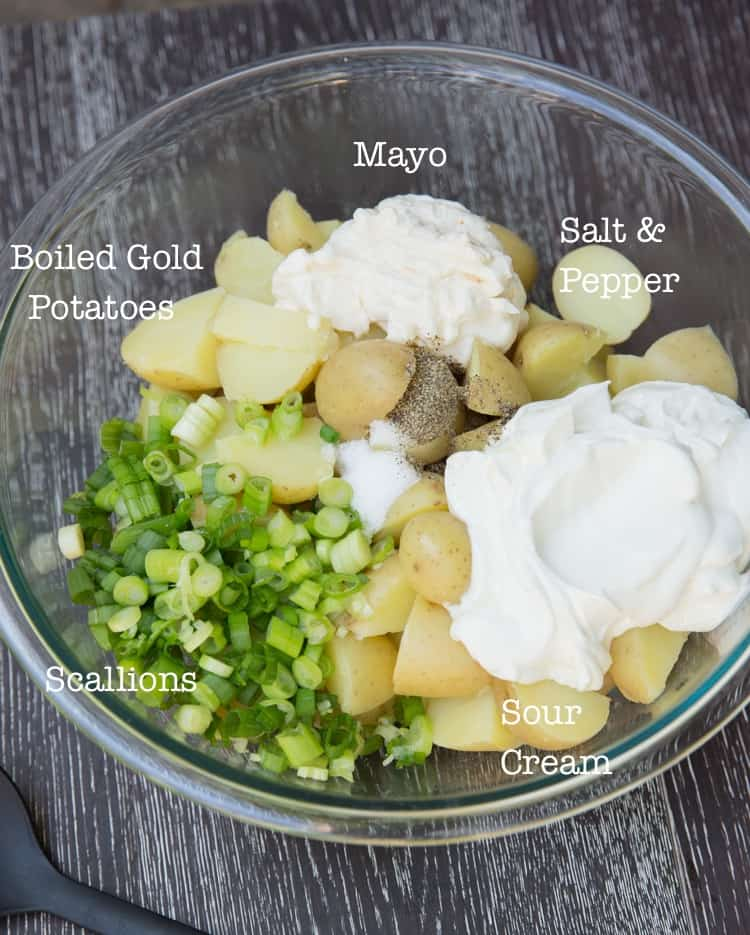 Classic potato salad, only 4 ingredients! Delicious warm or cold, and egg free!