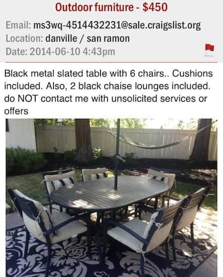 Craigslist table