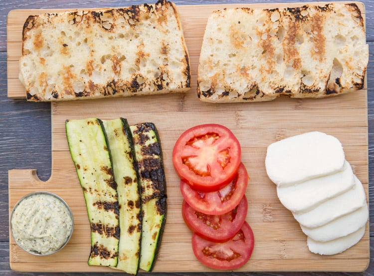 Grilled zucchini caprese sandwiches with pesto mayo. Perfect summer sandwich!