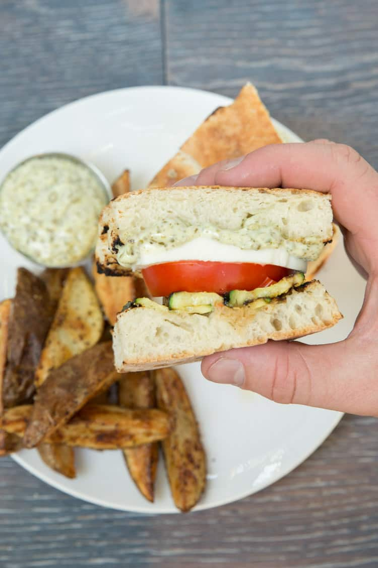 Grilled zucchini caprese sandwiches with pesto mayo. Perfect summer sandwich!