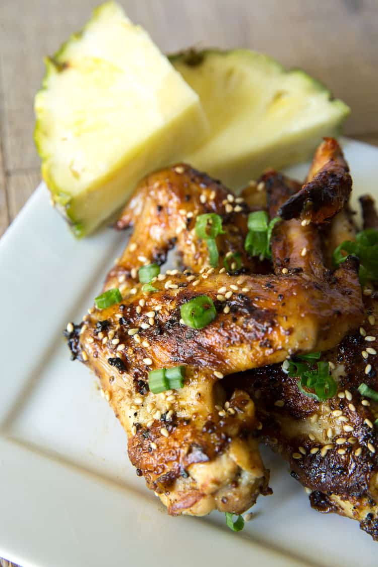 This recipe is always a huge hit! Mustard grilled pineapple chicken wings, amazing asian flavor.