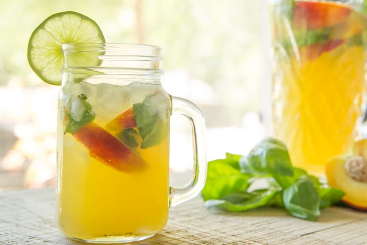 Sparkling Peach Basil Sangria, perfect cocktail for summertime sipping!