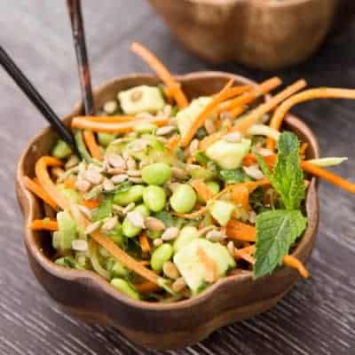 Cucumber & Carrot Noodle Thai Salad | tasteslovely.com