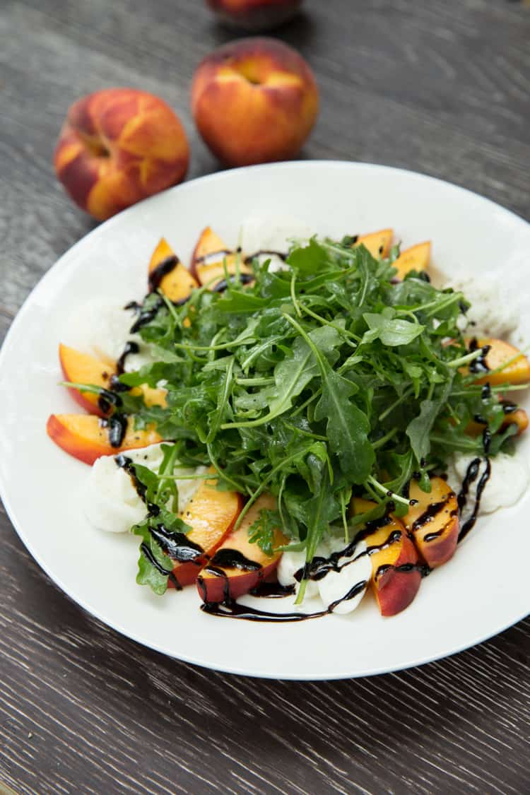 Peach and Burrata Arugula Salad, this salad is PERFECT for summer!