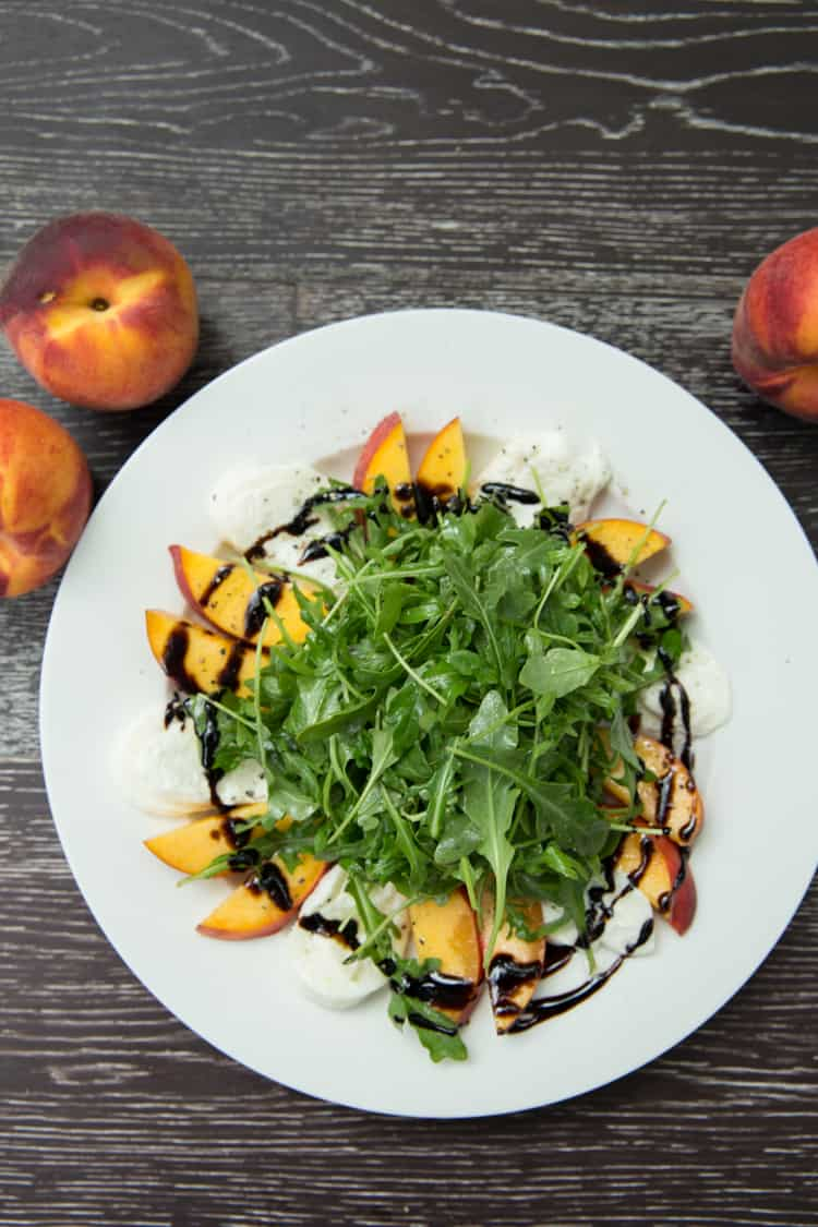 Peach and Burrata Arugula Salad, this is the PERFECT summer salad!