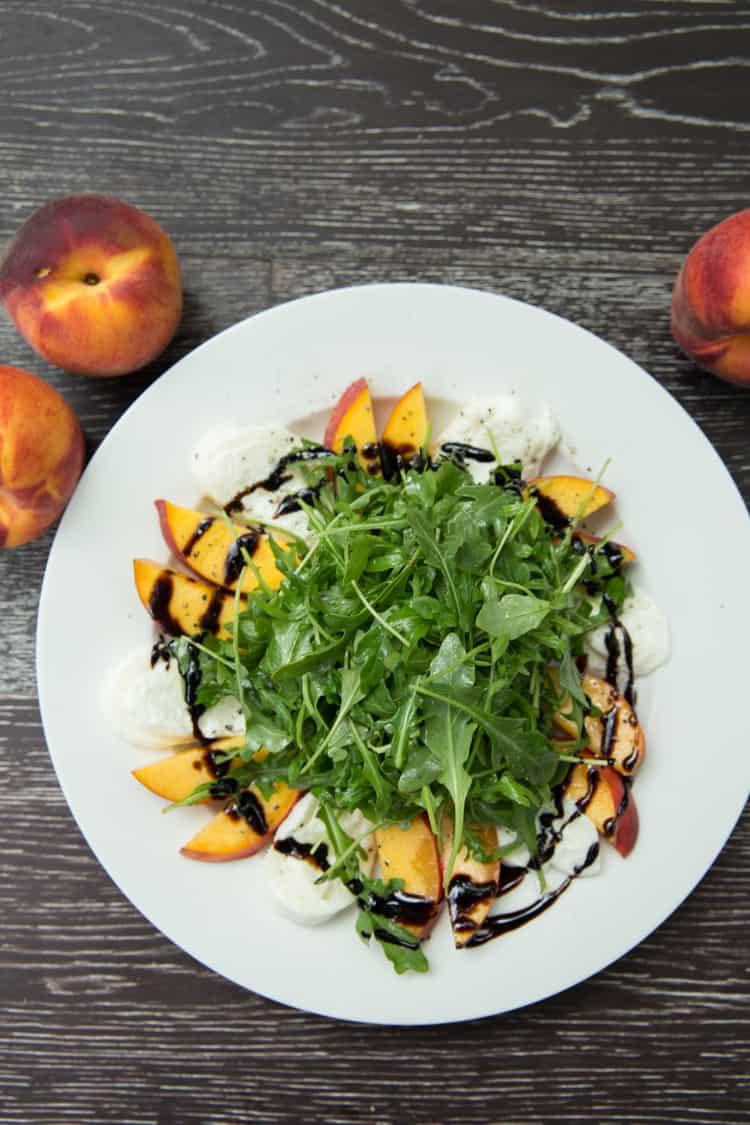 Peach and Burrata Arugula Salad, this is the PERFECT summer salad!