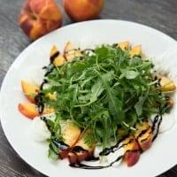 Peach and Burrata Arugula Salad