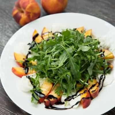 Peach and Burrata Arugula Salad | tasteslovely.com