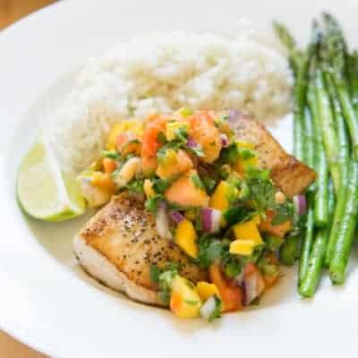Pan Seared Mahi Mahi with Mango Papaya Salsa | tasteslovely.com