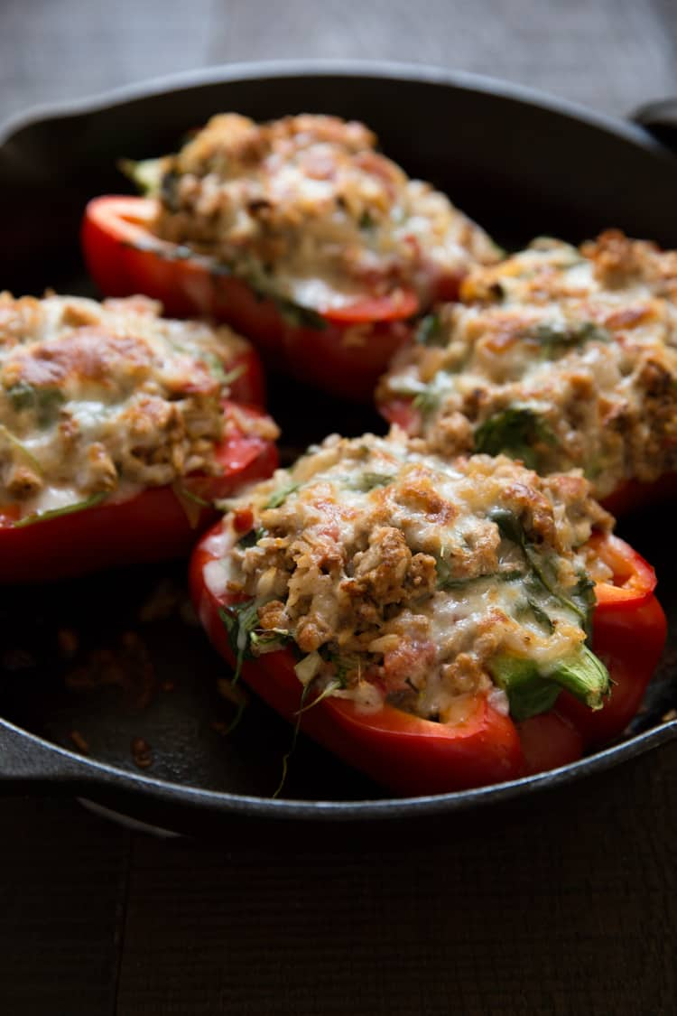 Turkey & Arugula Stuffed Bell Peppers