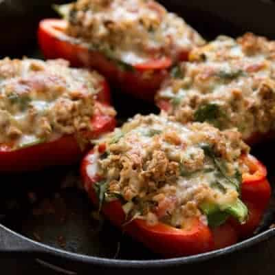 Turkey & Arugula Stuffed Bell Peppers | tasteslovely.com