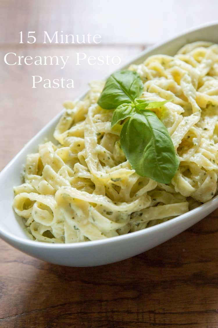 15 Minute Creamy Pesto Pasta — Tastes Lovely