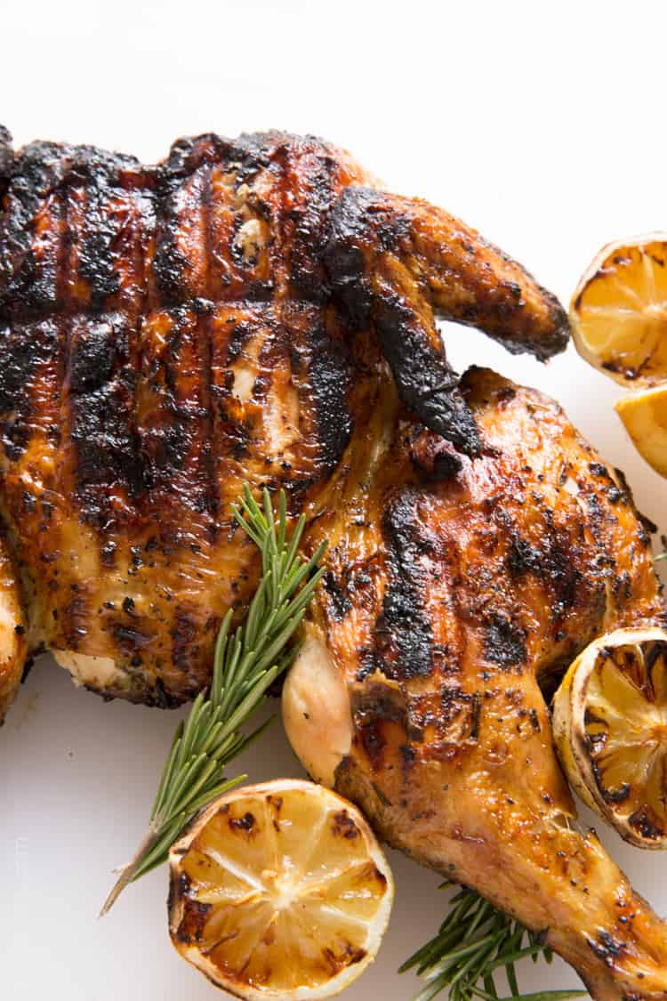 Grilled Lemon and Rosemary Flattened Chicken — Tastes Lovely
