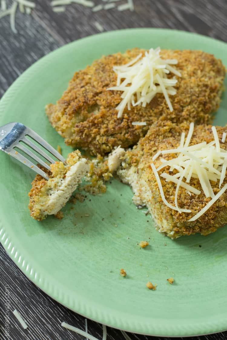 Crispy Baked Pesto Chicken Parmesan