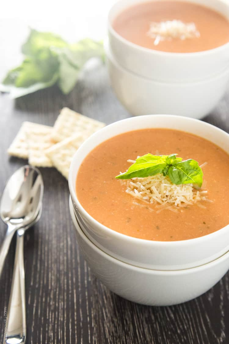 Creamy Tomato Basil Soup with Parmesan - Tastes Lovely