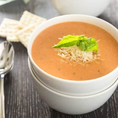 Creamy Tomato Basil Soup with Parmesan | tasteslovely.com